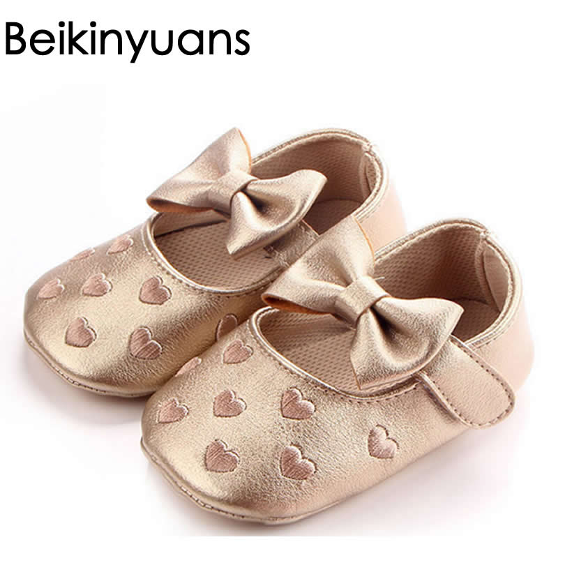 Embroidered Heart Bowknot Baby Shoes Autumn Newborn Photo Baby First Walkers Pu Leather Baby Girl Toddler Ballerina Shoes