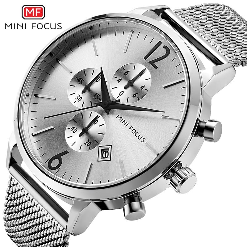 3e60bf16 MINI FOCUS Men Classic Quartz Watches Stainless Steel Mesh Bracelet ...