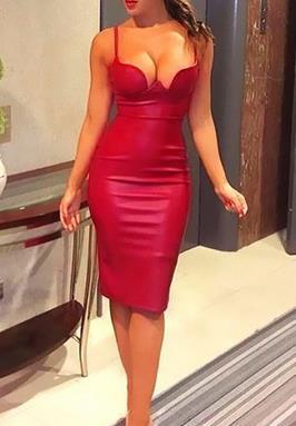 25fa552b091 2016 Women summer pu leather dress STRAPS PENCIL celebrity sexy bodycon  party dresse nude pink red black kim kardashian dress