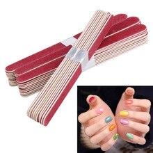 Pilnik do paznokci Manicure Pedicure bufor pilniczki do szlifowania zestaw drewno półksiężyc papier ścierny Grit narzędzie do zdobienia paznokci dwustronny gruby kij