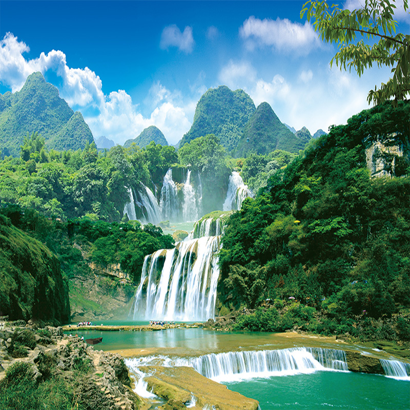 Custom 3D Wall Mural Wallpaper Nature Landscape Green Mountain Waterfall 3D Non-woven Photo Wall Paper Home Decor For Study Room 3d wallpaper custom mural non woven cartoon animals at 3 d mural children room wall stickers photo 3d wall mural wall paper