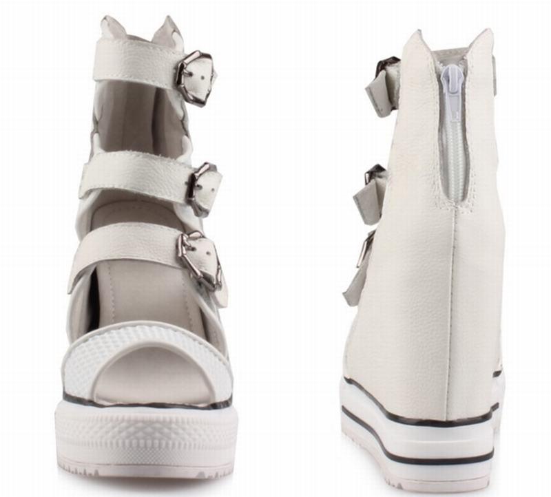Talons Croissante Mode Toe Maille Cheville D'été Sandales Femmes Nouveau Casual Peep Bottes black White Haute Botas Chaussures Femme Gladiateur Hauteur Wedge Tqwxd4