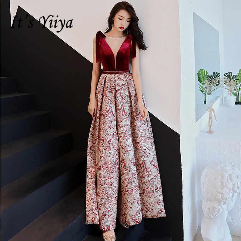 a983330cf19 Это YiiYa вечернее платье 2018 винно-красный принт v-образный вырез без  рукавов бант