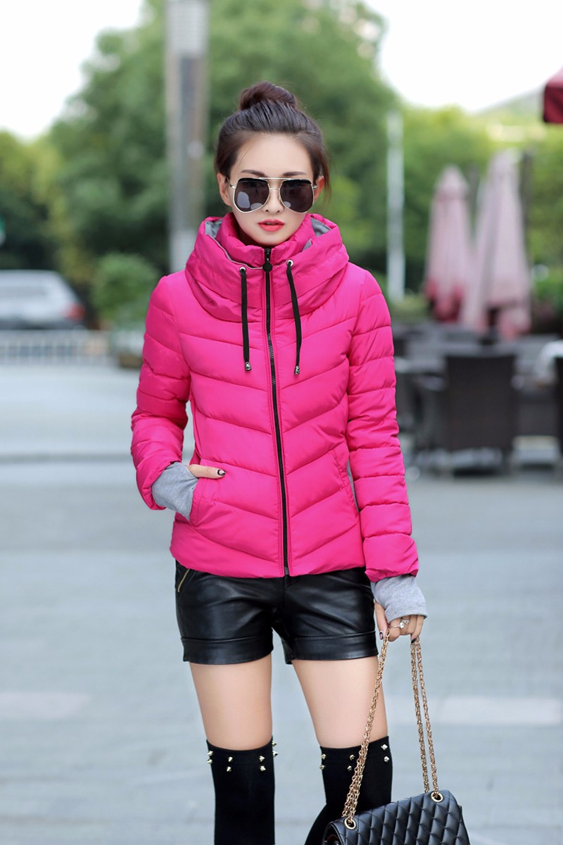 Winter Jacket Women Parkas Thicken Outerwear solid hooded Coats Short 20