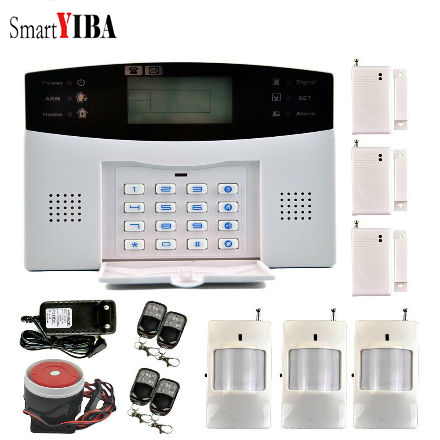 SmartYIBA SMS Remote control Wireless Alarm System Auto Dialing Alarm System With PIR Motion Detector Siren Alarm Kits smartyiba 433mhz home alarm system with security loudly sound siren smoke fire detector wireless pir motion sensor alarm kits