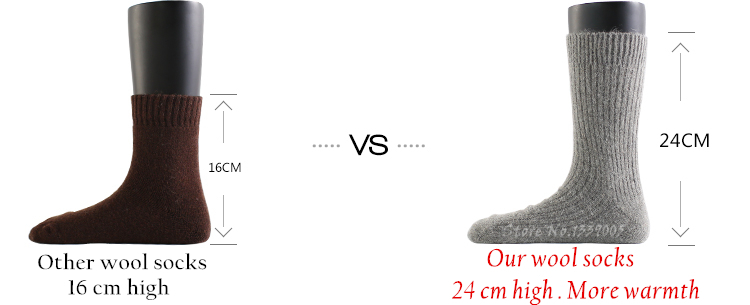 3x Men's Merino Wool Socks Warm Winter 14