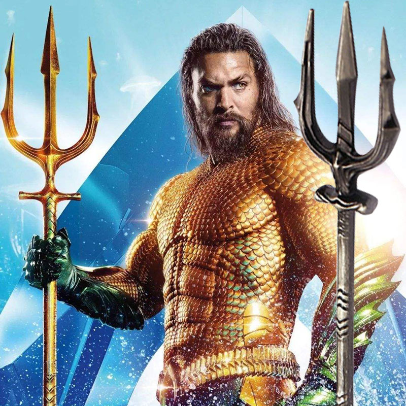 New Movie Aquaman Trident Keychain Justice League Keyring Holder Weapon Key Chains Car Pendant Fashion Cosplay Gift Accessories