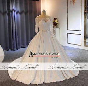 Image 2 - Vestido דה noiva 2019 באיכות גבוהה עם מחיר טוב אמיתי עבודה סאטן חתונה שמלה