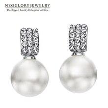 Neoglory Стразы искусственным жемчугом элегантные Висячие серьги для Для женщин новые модные очаровательные ювелирные изделия горох 1 P1