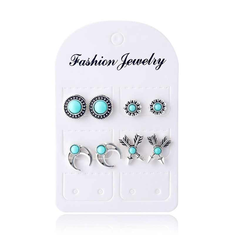 4Pairs /Set Boho Arrow Cross Moon Flower Gem Silver Earrings Set Women Punk Stud Earrings Set Personality Party Clothing Jewelry