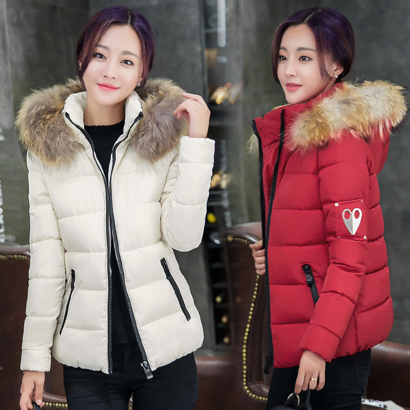 New Arrival Winter Warm Women Coat Hooded Fur Collar Outerwear Female Thick Wadded Jacket Spliced Casual Style Overcoat 2016 winter jacket women outerwear female real fur collar new arrival women down thick casual warm slim coat parka hot sale