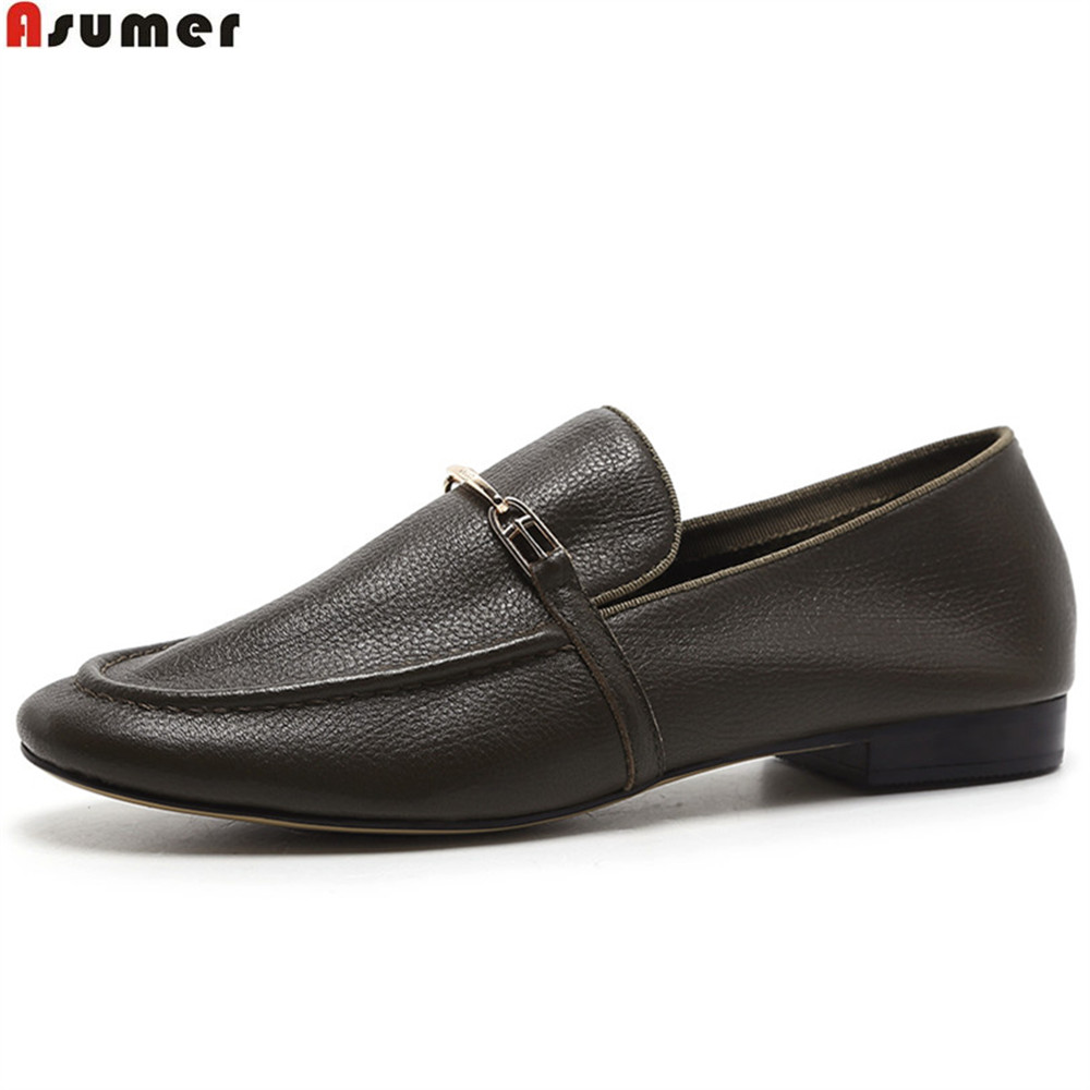 Asumer noir marron mode printemps automne dames chaussures plates bout décontracté chaussures brogue femmes en cuir véritable appartements