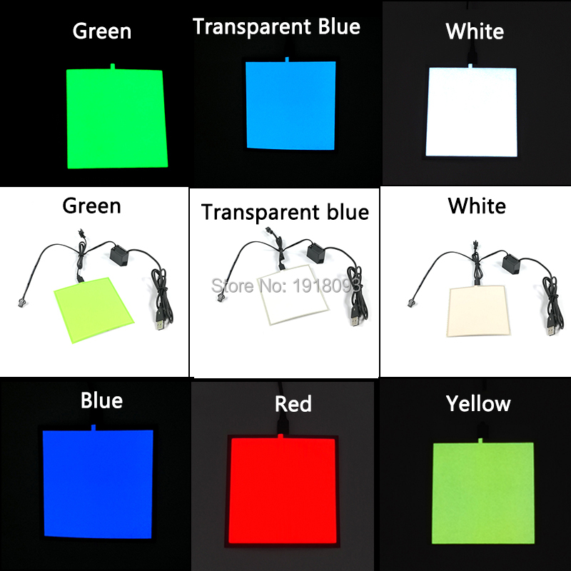 Hot Selling DC-5V USB Driver+6 Colors Select 10X10CM Glowing EL Sheet Holiday Lighting Toys EL Panel For  Festival Decoration