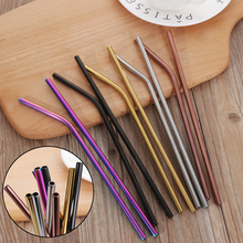 1/4pcs/lot Stainless Steel Drinking Straws +1 Brush Reusable Bent Stainless Filter Straw Metal Drink Mate Tea Bar Accessorie
