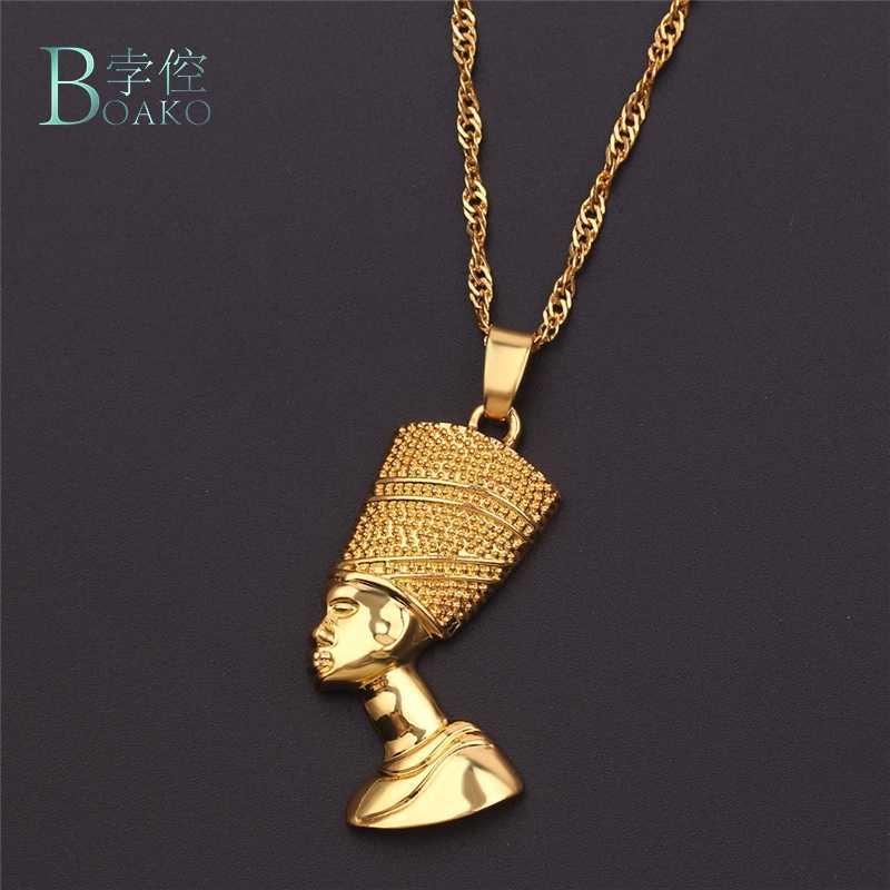 BOAKO מצרית מלכת תליון שרשרת סטי תכשיטי זהב צבע מצרים שרשראות לנשים/גברים אפריקאי זהב צבע היפ הופ תליון