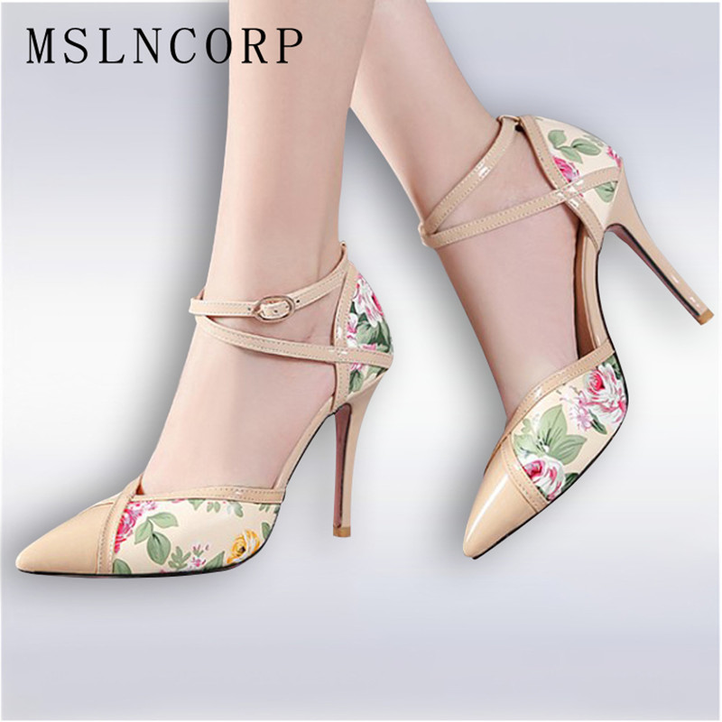 Plus Size 34-47 Summer Sexy Lady Thin High Heel Sandals Women Ankle Strap buckle Office Pointed Toe Wedding Party Pumps shoes plus size 34 43 women thin high heel pumps zapatos mujer fashion sexy pointed toe ankle strap party shoes women pumps 160