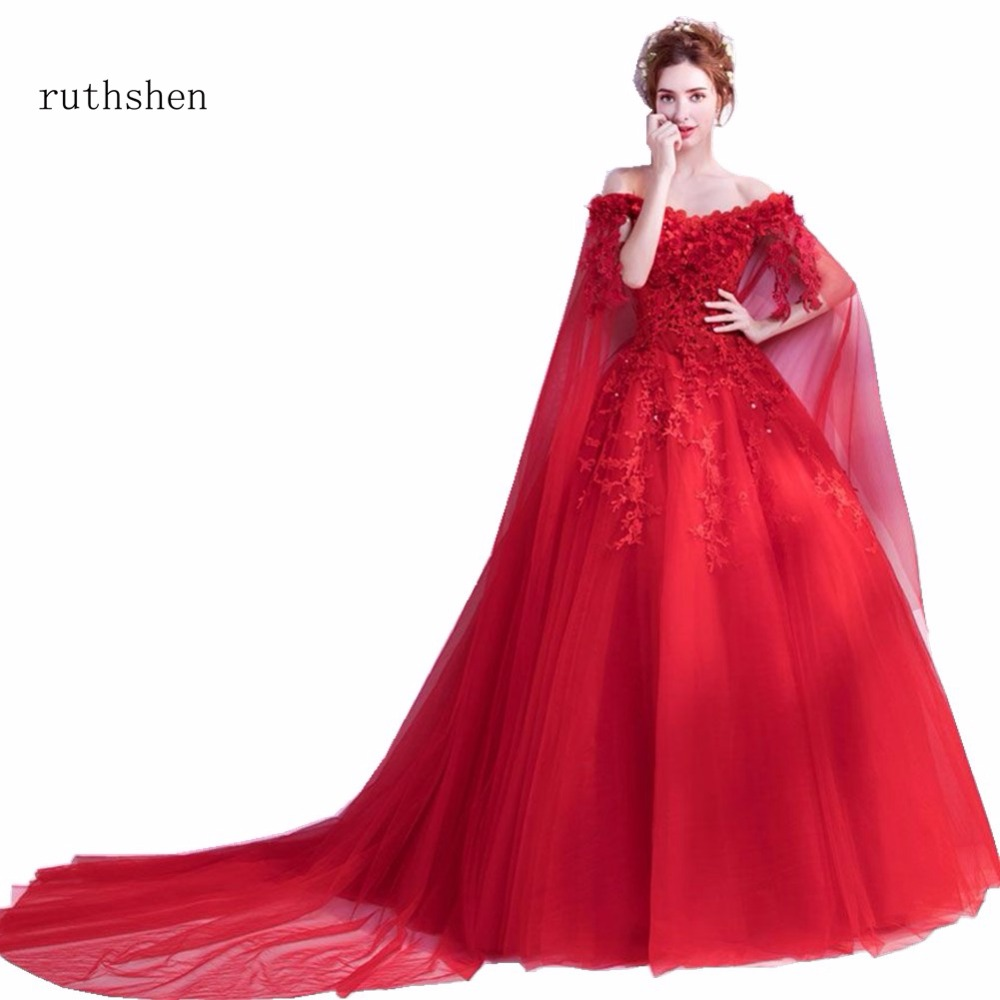 ruthshen Hot Fashion Red In Stock Prom   Evening     Dresses   With Long Sleeves Sequins Appliques Luxury Robe De Soiree   Evening   Gowns