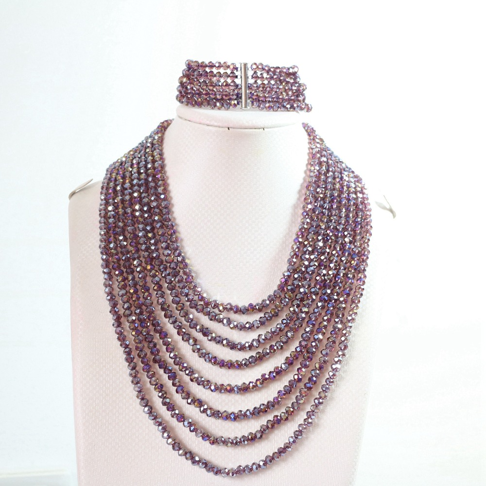 Charms bright purple AB crystal glass rondelle abacus 4*6mm beads 8 row chain necklace 5 row bracelet jewelry set 17-26inch B851