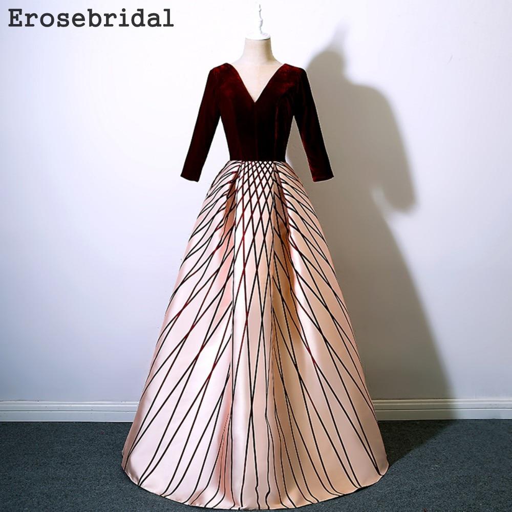 Formal Dress Women Elegant Evening Dress 2018 Long Sleeve A Line
