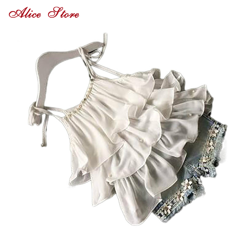 2017 Summer Korean children's clothing girls suit Chiffon cake sling + pants 2pcs pearl flower halter top denim shorts kids Set girls in pants third summer