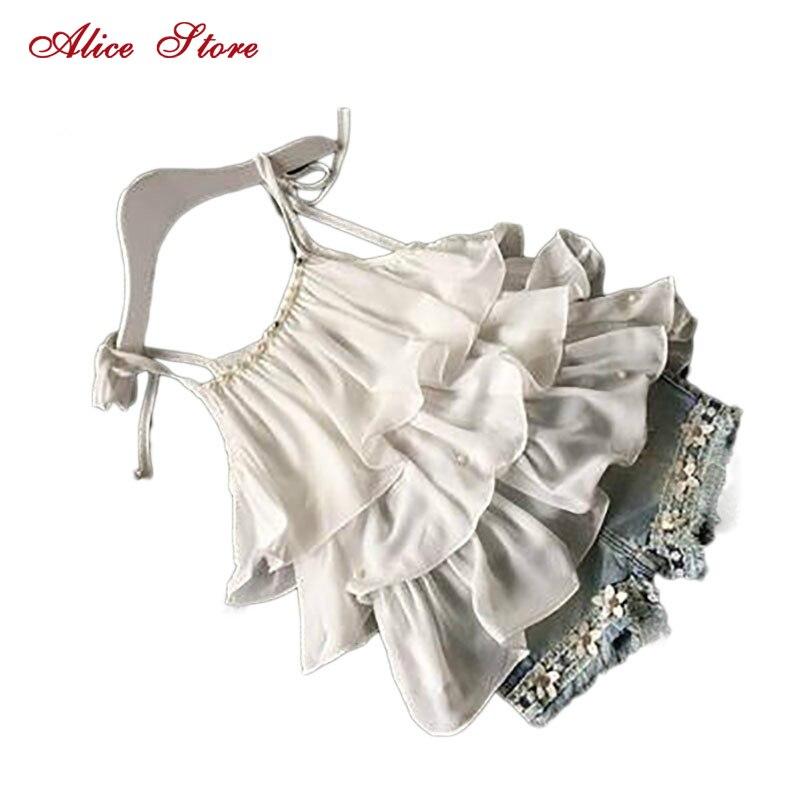 2018 Summer Korean children's clothing girls suit Chiffon cake sling + pants 2pcs pearl flower halter top denim shorts kids Set стул coleman summer sling 205147