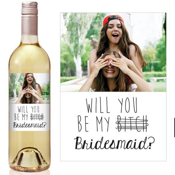 5pcs personalize Will You Be My Bridesmaid Champagne Label -Bridesmaid Proposal -Asking Bridesmaid Gift Ideas wine bottle lables image