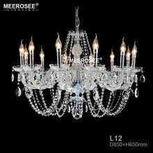 лучшая цена Luxurious Clear Crystal Chandelier Modern Glass suspension lamp lustre de cristal chandelier Project Lighting Hotel Restaurant