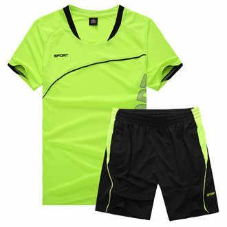 Мужская спортивная одежда из полиэстера Летний Новый мужской спортивный костюм с короткими рукавами футболка + шорты комплекты из 2 предметов повседневные Модные мужские повседневные Костюмы