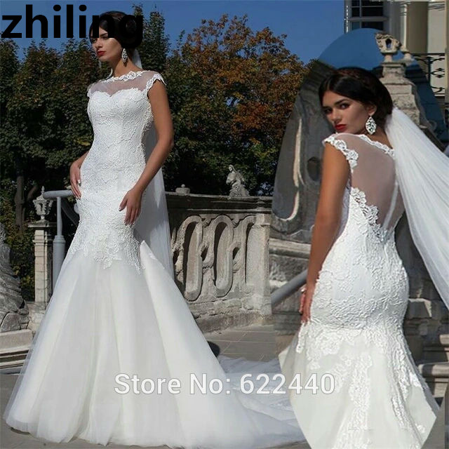 See Through Wedding Gown: Boat Neck Short Sleeves Mermaid Wedding Dresses Bridal