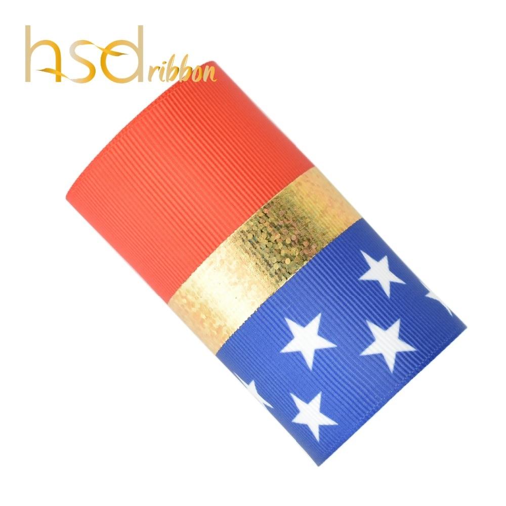 HSDRibbon custom 75MM 3 inch America series pattern Laser gold Foil Printed on HT Grosgrain Ribbon