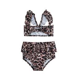 Лидер продаж, комплект из 2 предметов для маленьких девочек, Леопардовый цветочный принт, купальный костюм, бандаж, оборки, детский пляжный л... 4