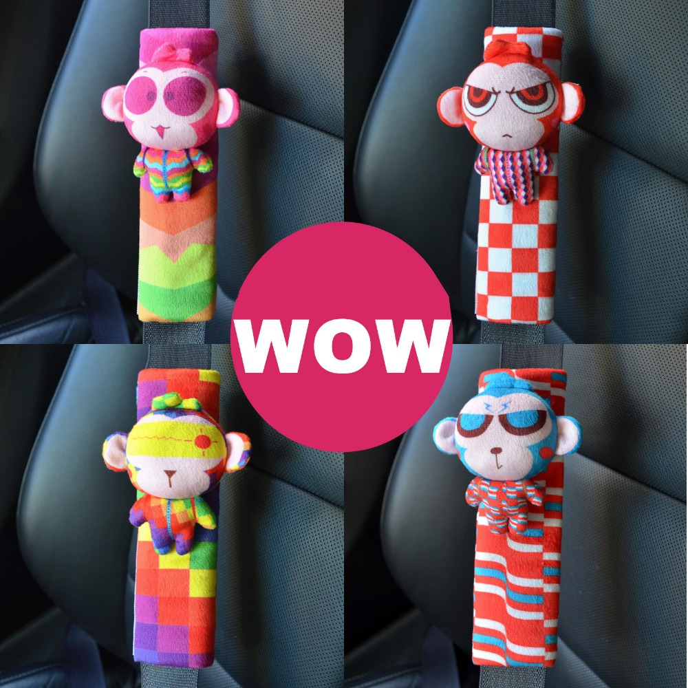 Monkey Kids Seat Belt Pad Child Cartoon Children Kids Seat Safety Belt Pad Animal Plush Seat Harness Shoulder Pad Protector 1 PC