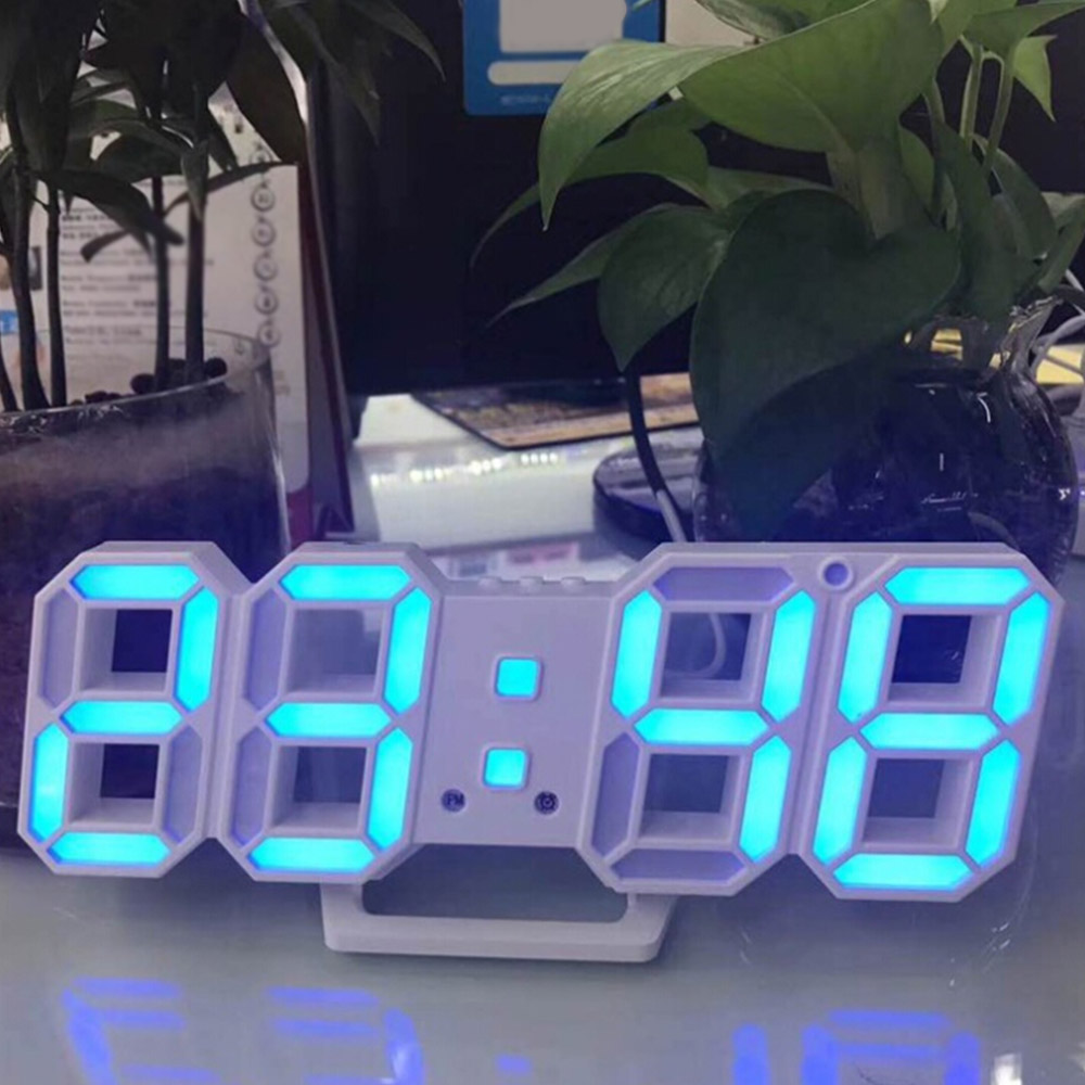 Modern 3D LED Wall Clock Digital Table Desktop Alarm Clock Nightlight Wall Clock For Home Office 24 or 12 Hour Digital Watches image