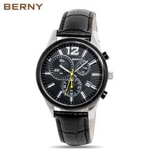BERNY 2017 New Men Watch Luxury Brand Watches Quartz Clock Fashion Leather Megire Cheap Sports Wristwatch Relogio Male
