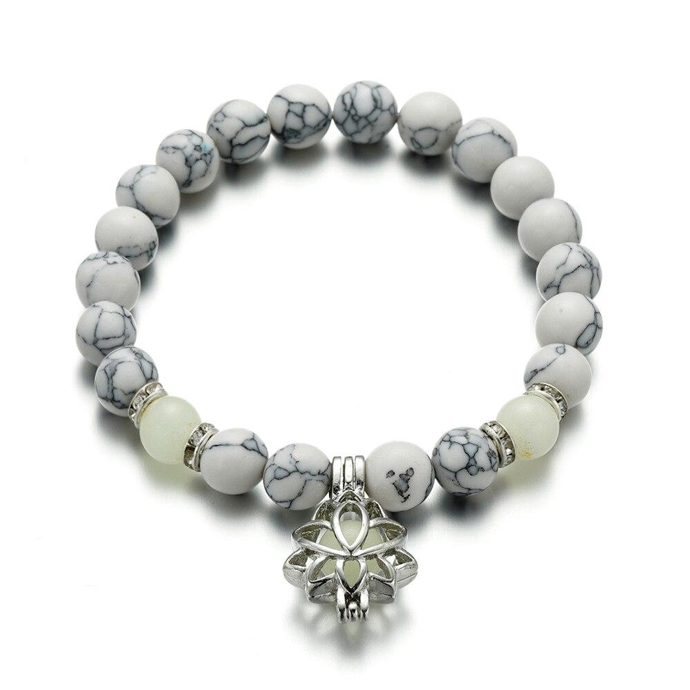 Natural Stones Luminous Glowing In The Dark Lotus Flower Shaped Charm Bracelet For Women Yoga Prayer Buddhism Jewelry 13