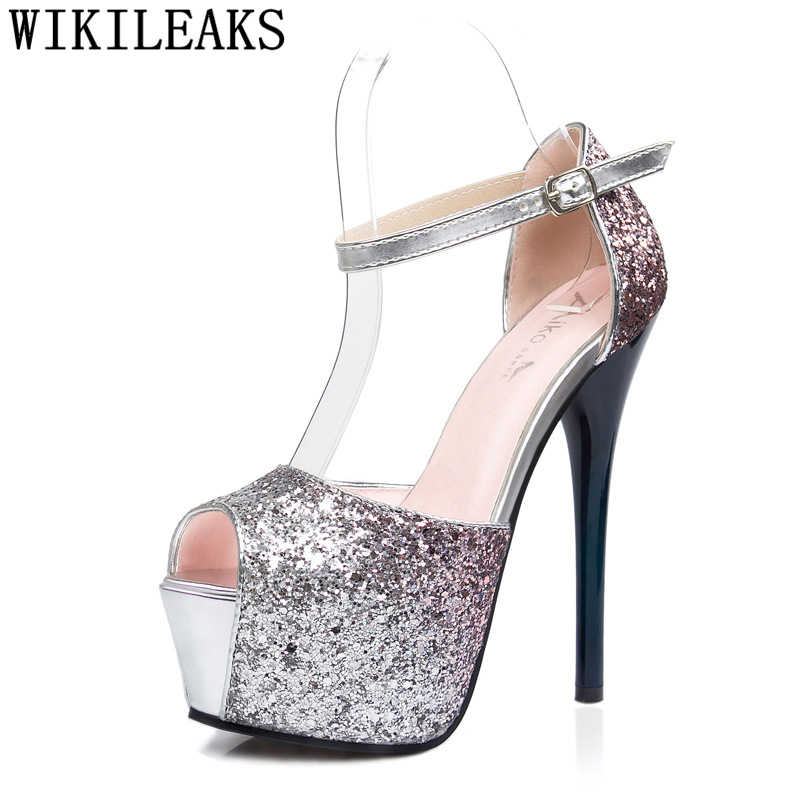 stripper heels valentine shoes glitter heels wedding shoes bride peep toe extreme high heels platform party shoes for women buty