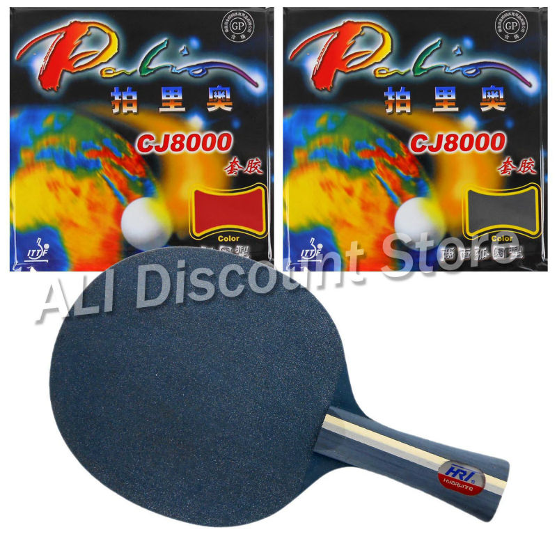 HRT Blue Crystal Blade with 2x Palio CJ8000 H36-38 Rubbers for a Table Tennis Combo Racket Shakehand FL china hrt