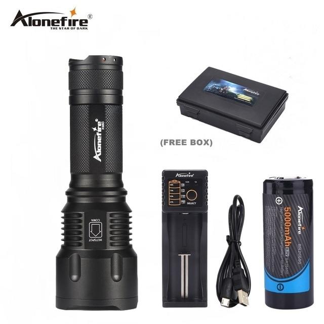 Alonefire X980 CREE XML-T6 мощный светодиодный фонарик 26650 батареи зум, LED Факел Flash Light Охота Lanterna Отдых на природе велосипедов