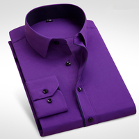 Formal Business Men Long Sleeve Dress Shirt Brand Male Fashion Solid Black White Purple Pink Casual