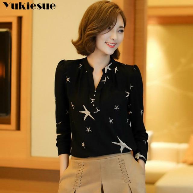 Summer 2019 Blouses Women's Tops Office Work Elegant Chiffon Shirts black Slim Blouse Casual Long Sleeve Plus Size White Shirt 2
