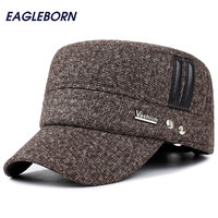 Winter Hats Outdoor Men Military Hat With Earflaps Keep Warm Flat Visor Baseball Caps Old Men