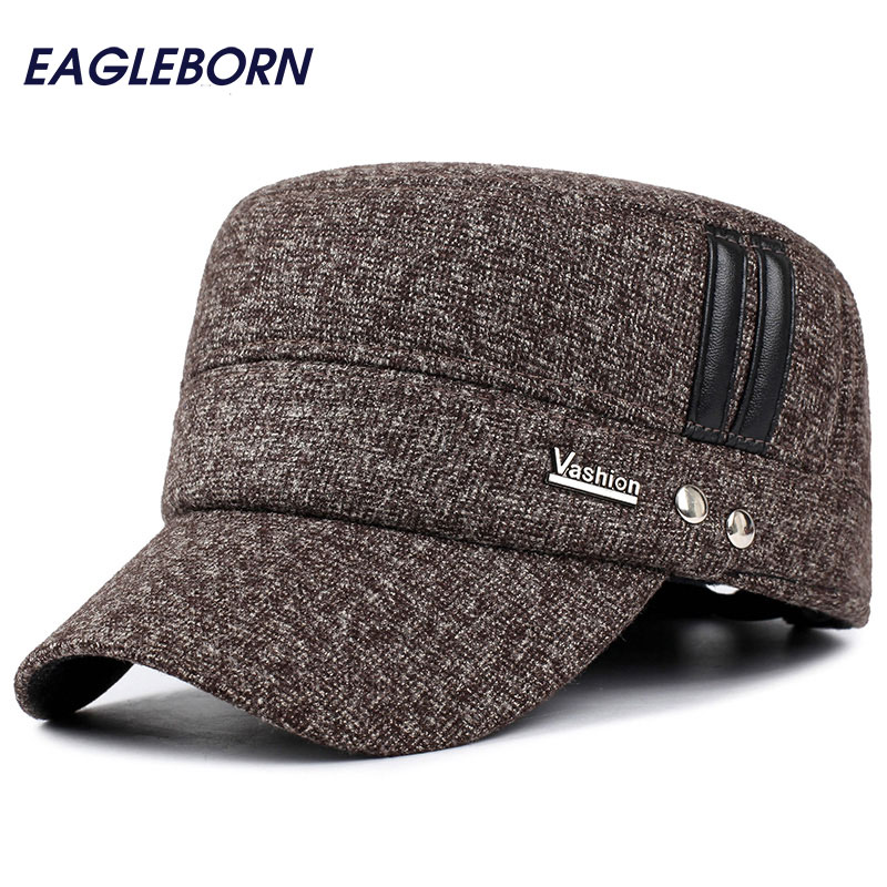 5640d95d185fb Winter hats men caps hat with earflaps keep warm flat roof baseball caps  old men thicken snapback Russia casquette