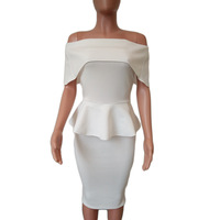 Seamyla Elegant White Vestidos Nes Fashion Mid Calf Ruffles Womne Party Dresses Sexy Strapless Summer Bodycon