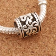 Frangipanni Hawaiian Flower European Beads Charm Bead 9x8.7x9.5 mm 30pcs Antique Silver L1390
