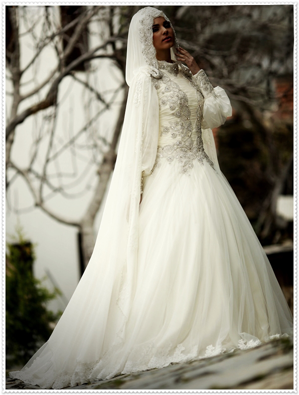 comprar cuello alto moderno rebordear manga larga nupcial dubai musulmana vestido de boda nupcial vestidos con velo musl de gown set