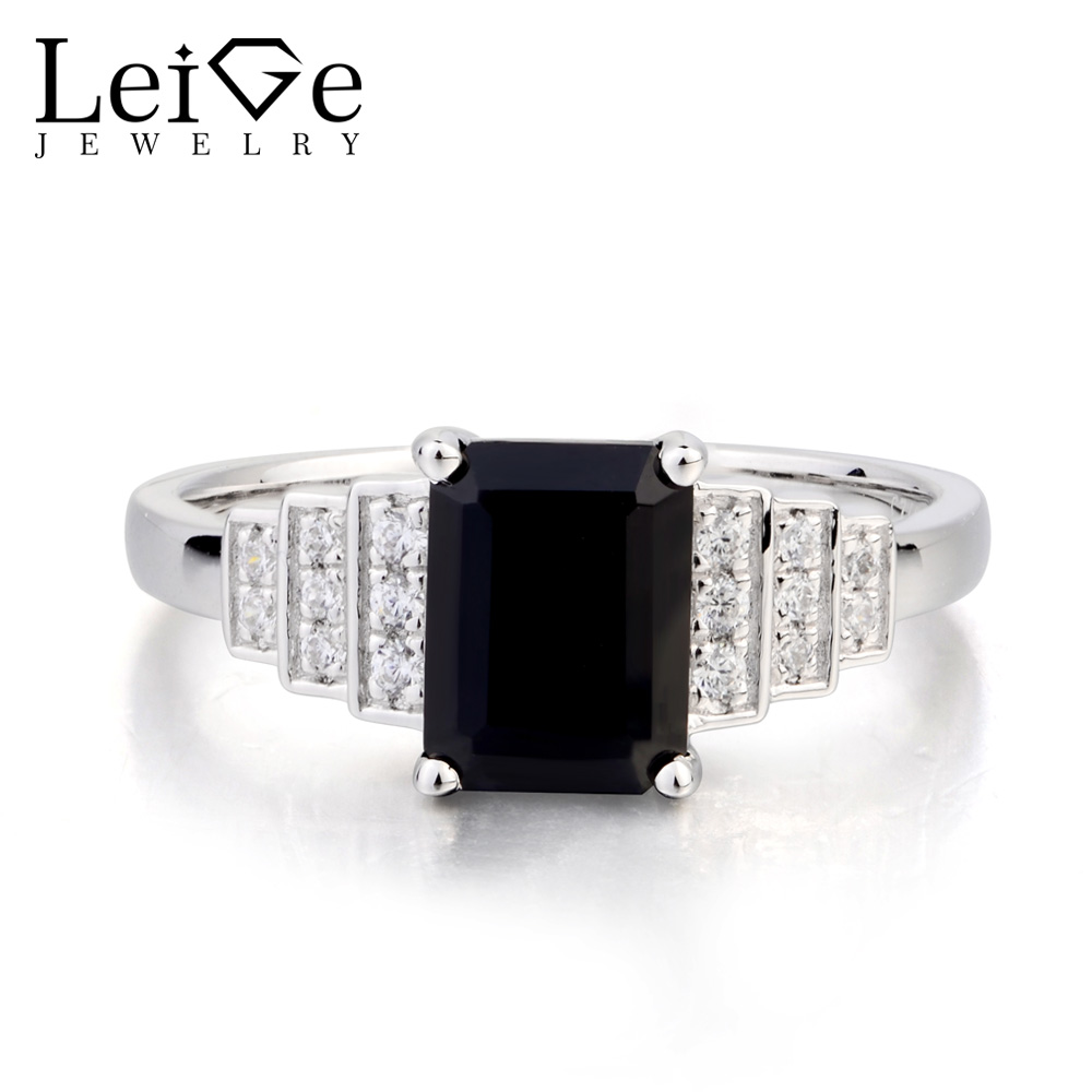 Leige Jewelry Emerald Cut Black Gemstone Natural Black Spinel Ring Promise Ring Real 925 Sterling Silver Romantic Ring for Women цена