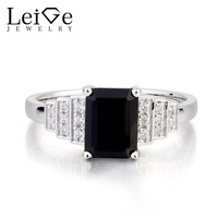Leige Jewelry Emerald Cut Black Gemstone Natural Black Spinel Ring Promise Ring Real 925 Sterling Silver Romantic Ring for Women