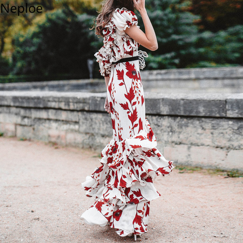 Mode Rufflesvestido Blume Stil Nepole Langen Rock Wasserfall Strand 2019 Urlaub Neue Modis S Sommer Druck QrdxoeWCB