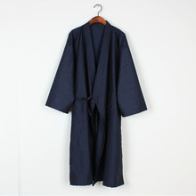 Men Japanese Bathrobe Kimono Yukata Long Pajamas Cotton Soft Robe Sleepwear Nightwear 226-215