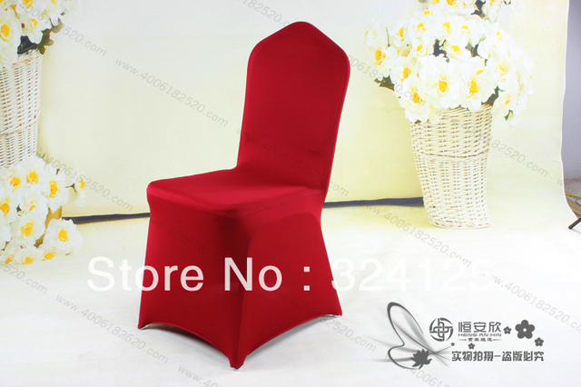 Factory direct 2pcs Red spandex/lycra Elasticity plus size thickening chair cover Hotel Wedding Banquet spandex chair cover